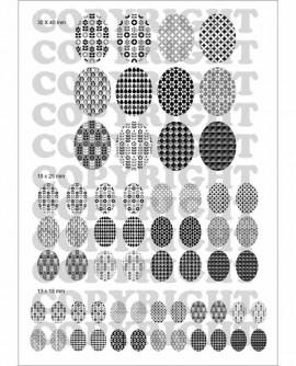 Motifs suédois noir blanc  Images digitales cabochon Ovale