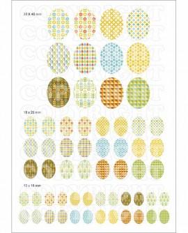 Motifs scandinaves géométriques images cabochons ovales