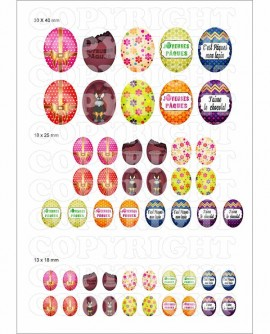 Oeuf de Pâques images digitales cabochons