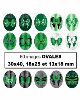 Noeuds papillon vert chic Images digitales cabochon Ovales