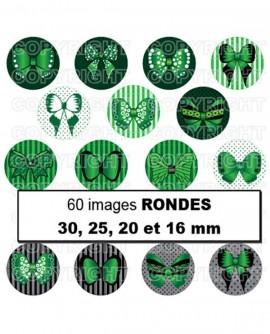 Noeuds papillons vert noir Images digitales cabochon ronds