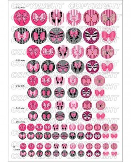 Noeuds papillons rose sweet lolita - Images digitales cabochon 60 ronds