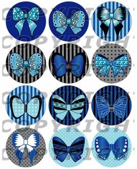 Noeuds papillons bleu Images digitales cabochon ronds