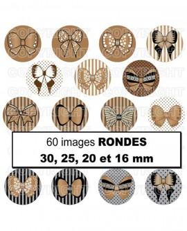 Noeuds papillon beige rétro Images digitales cabochon ronds