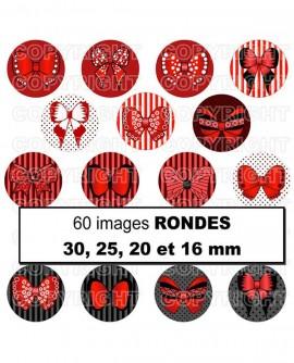 Noeuds papillon rouge passion Images digitales cabochon ronds