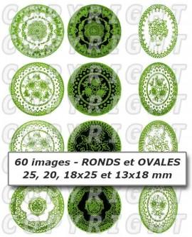 Dentelle vert clair nature  images cabochons mixte rondes ovales