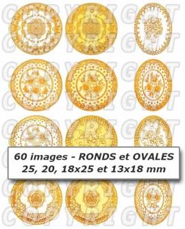 Dentelle jaune doré images cabochons mixte rondes ovales