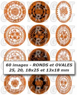 Dentelle jaune orange - 60 images cabochons mixte rondes ovales