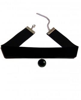 velours noir et perle d'onyx choker ras de cou gothique