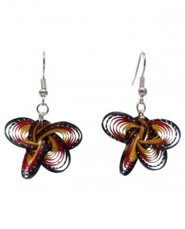 Boucles d'oreilles papillons bambou multicolore