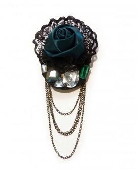 Broche avec chainette - Fleur de satin et dentelle noire
