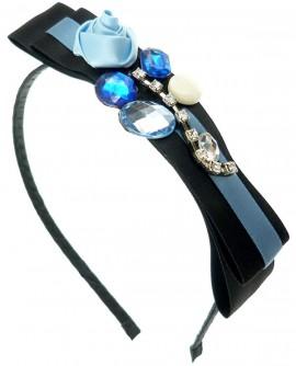 Satin et strass Bleu et Noir - Serre-Tête