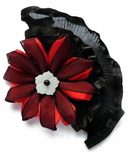 Dentelle et satin rouge et noir - Broche et Pince à cheveux