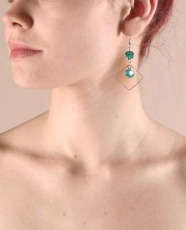 boucles d'oreille losange argent et vert émeraude