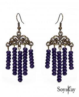 boucles d'oreilles chandelier doré perles bois violet violettes