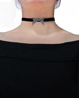 collier ras de cou femme noeud carreaux vichy velours rétro noir blanc gothique