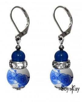 Porcelaine bleu et cristal - boucles dormeuse ou pour oreilles non perçées