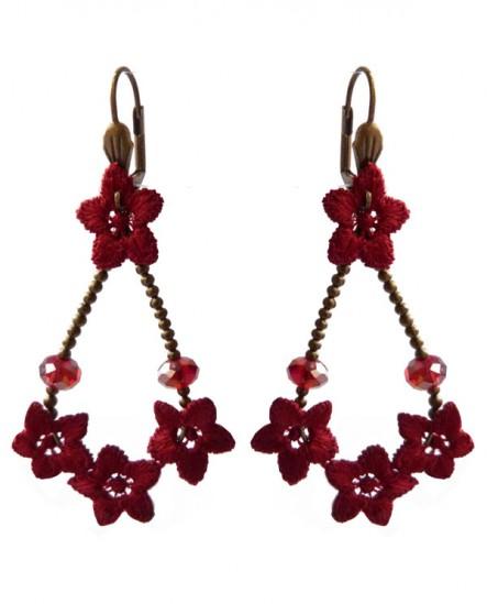 boucles d'oreilles goutte baroque  légères rouge grenat