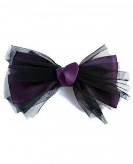 Noeud papillon géant noir et violet en tulle et satin - pince a cheveux