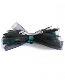 Grand noeud papillon en tulle noir et satin vert émeraude - barrette clip