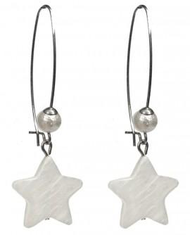 boucles d'oreilles étoiles blanches