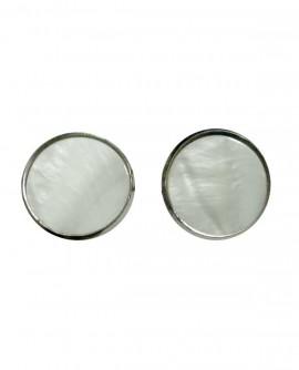 Boucles D'oreilles femme, rétro disque rond de nacre blanche, Clou ou  Clip oreilles non percées