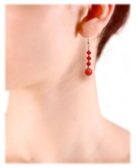 Boucles d'oreilles rouge vermillon en porcelaine