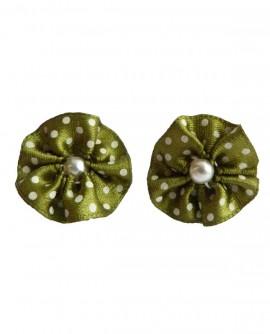 Boucles D'oreilles femme, rond rétro vert a pois , Clou ou  Clip oreilles non percées