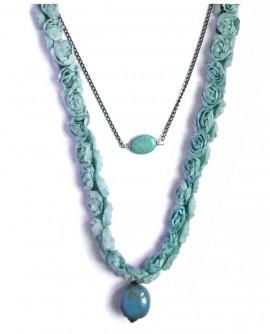 Sautoir bleu turquoise, fleurs et céramique