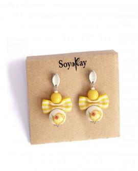 Jaune citron, boucles d'oreilles clous en porcelaine a fleurs