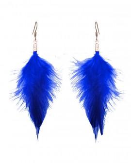Boucles d'oreilles plumes bleu roi