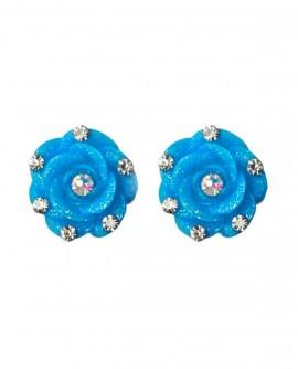 boucles d'oreilles  fleurs bleu, puces en résine à paillettes