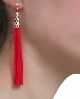 boucles d'oreilles longues pompon rouge vif