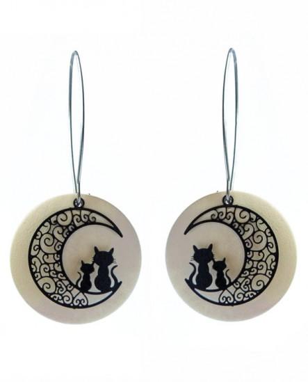boucle d'oreille chat lune
