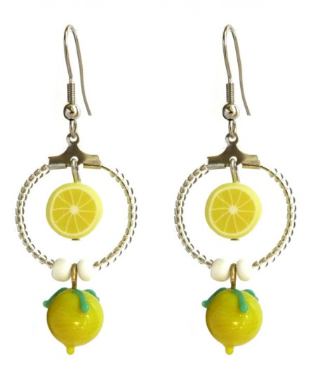 Créoles citron frais, boucles d'oreilles jaune