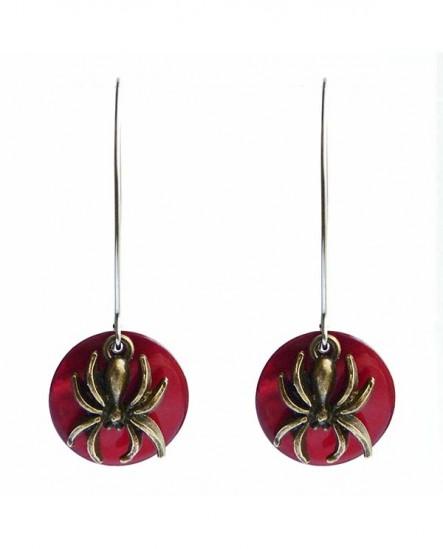 Boucles d'oreilles gothiques : l'araignée et la lune rouge