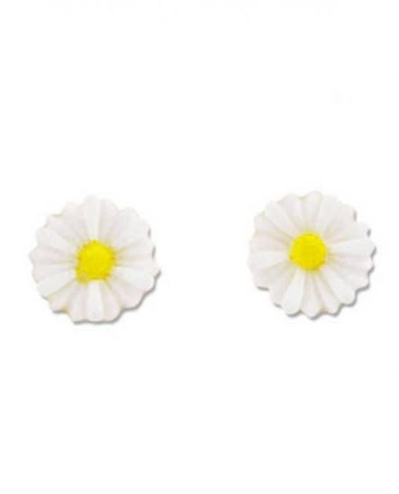 Puces pâquerette :  boucles d'oreilles jaunes et blanches