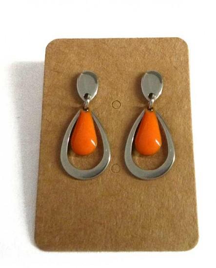 Boucles d'oreilles petite goutte orange