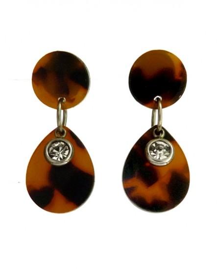 Boucles d'oreilles puces écaille de tortue goutte marron et cristal