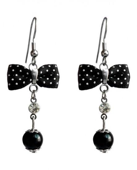 Boucles d'oreilles pin up noeud et cristal - noir et blanc