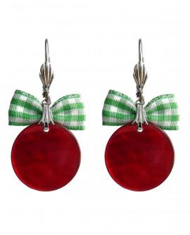 Boucles d'oreilles pin up ronds rouge cerise et vertes
