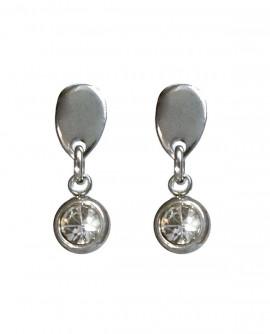 Boucles d'oreilles Puces goutte et cristal rond