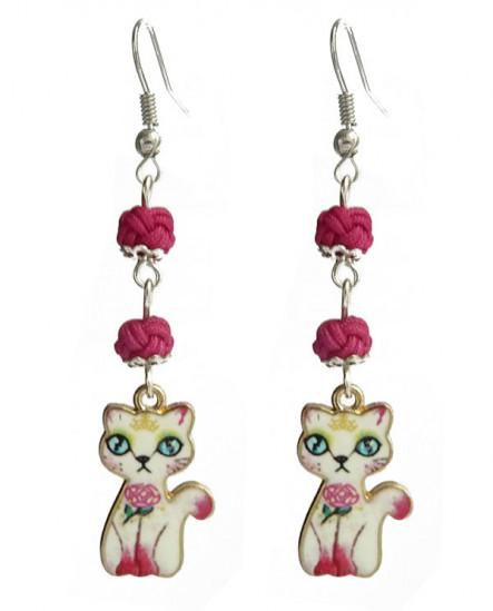 Boucles D'oreilles chats blanc et pelottes rose fuchsia