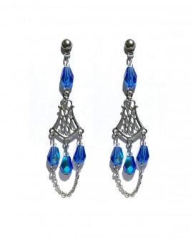 Boucles d'oreilles baroque gouttes bleu roi