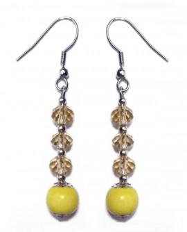 Boucles d'oreilles en porcelaine jaune mimosa