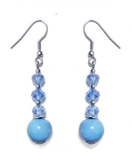 Boucles d'oreilles  en porcelaine bleu ciel