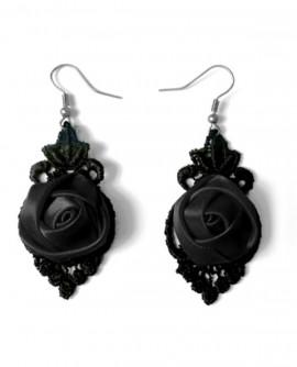boucles d'oreilles fleuries noires en dentelle et satin gothique