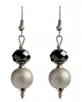 """boucles d'oreilles : """"le pendule"""" noir et argent mat"""