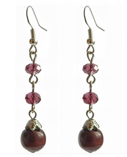 boucles d'oreilles cascade violette (prune) et bois marron vernis
