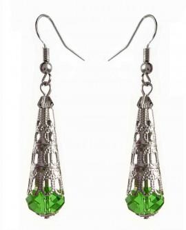 boucles d'oreilles gouttes vert et argent, filigrane inox et verre taillé